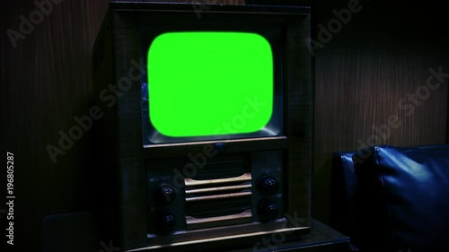 Vintage Retro Tv Green Screen  Night Watch  Zoom Out  You