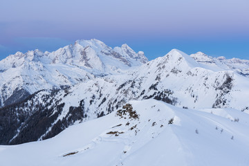 Marmolada in winter at dusk.Europe, Italy, Veneto, Belluno district, Giau pass