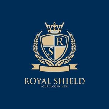 Luxury vintage crest logo. Calligraphic royal emblems and elements elegant decor. Vector crest monogram ornament for letter