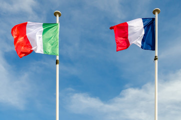 An italian and french flags