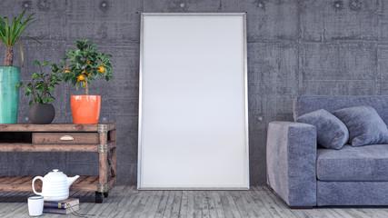 Mock up poster, modern living room, 3d render 3d illustration