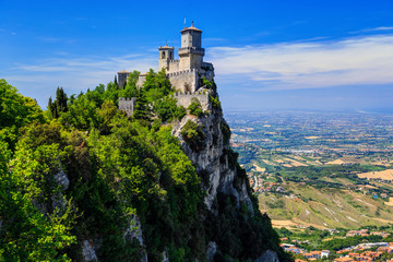 Fortress Guaita on Mount Titano is the most famous tower of San Marino, Italy.  Wall mural