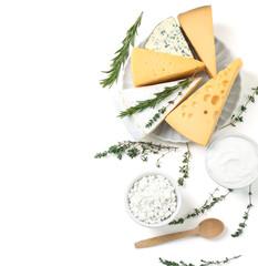 Poster de jardin Produit laitier Fresh dairy products on white background