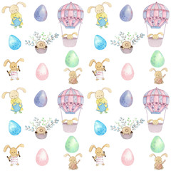 Watercolor pattern with bunnies and air baloon