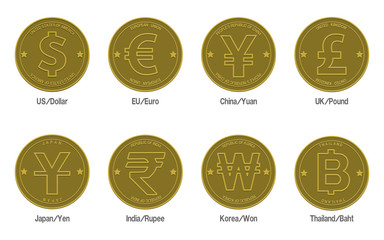 set of gold coins with the currency symbol, on transparent background