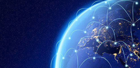 Planet earth, Internet Concept of global business, connection symbols communication lines, Elements of this image furnished by NASA Wall mural