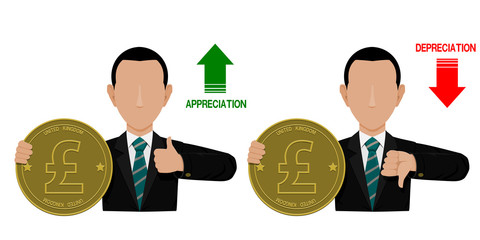 Businessman is presenting appreciation of Pound currency