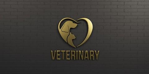 Veterinary Dog and Cat Gold Logo on Black Wall Design. 3D Render Illustration