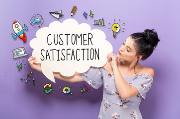 Customer Satisfaction with young woman holding a speech bubble