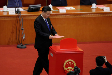 Chinese President Xi Jinping drops his ballot during a vote at the sixth plenary session of the NPC at the Great Hall of the People in Beijing