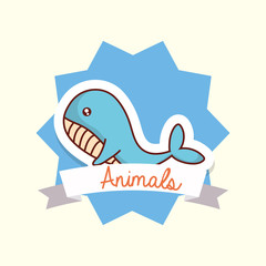 Cute animals design with decorative frame and ribbon with whale over white background, colorful design vector illustration