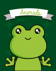 Cute animals design with frog face background, colorful design vector illustration