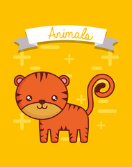 Decorative ribbon and cute tiger over yellow background, colorful design vector illustration