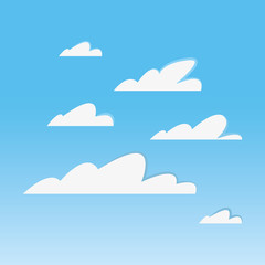 Background of sky with clouds, colorful design vector illustration