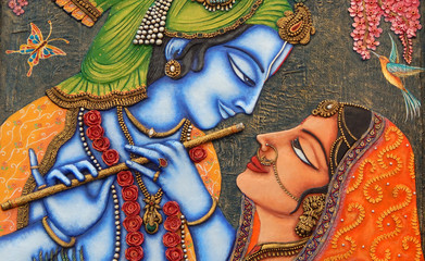 Closeup of Hindu God Sri Krishna and Radha art as in mythology in a temple