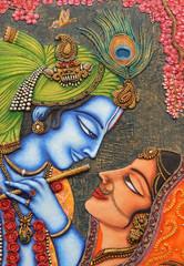 Closeup of Hindu God Sri Krishna and Radha art as in mythology in a temple