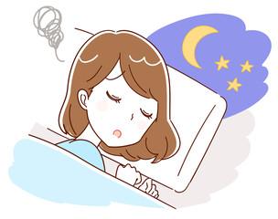不眠に悩む女性のイラスト