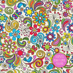 Seamless Boho floral pattern. Vector illustration for backgrounds, papers, fabrics and decor.