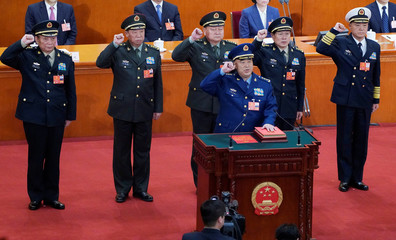 Newly elected vice chairman of the Central Military Commission Xu Qiliang and members of the Central Military Commission Zhang Shengmin and Li Zuocheng, vice chairman of the Central Military Commission Zhang Youxia, members of the Central Military Commissi