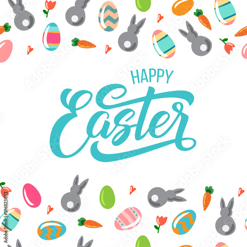 Happy easter text with bunny for logotype badge and icon hand happy easter text with bunny for logotype badge and icon hand drawn spring celebration m4hsunfo