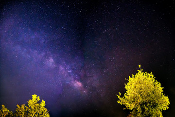 Milky Way galaxy in starry night sky, Long exposure photograph, with grain and noise