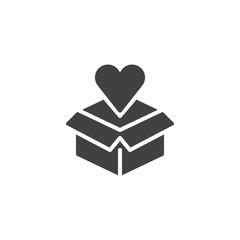 Open box and heart vector icon. Love gift filled flat sign for mobile concept and web design. Cardboard box with heart simple solid icon. Symbol, logo illustration. Pixel perfect vector graphics