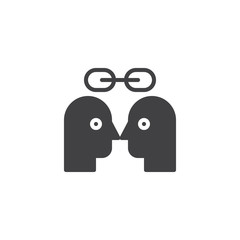 Couple person heads and chain vector icon. filled flat sign for mobile concept and web design. Lovers simple solid icon. Symbol, logo illustration. Pixel perfect vector graphics