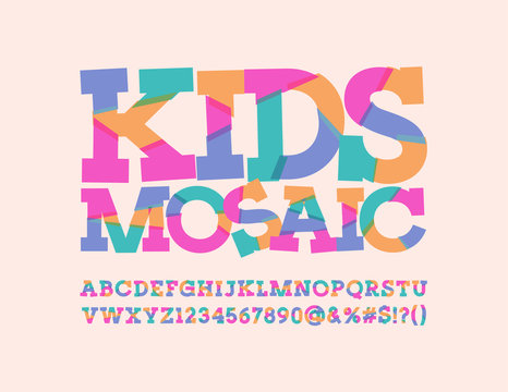 Vector Abstract pattern sliced Font for Children. Kids mosaic colorful Alphabet Letters, Numbers and Punctuation Symbols