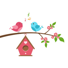 Singing bird on branch. Spring scene with flowers, trees and a birdhouse.