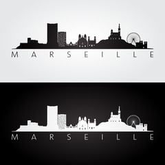 Marseille skyline and landmarks silhouette, black and white design, vector illustration.