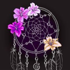 Hand drawn ornate Dream catcher with beautiful lily flowers on a black background. Vector illustration.