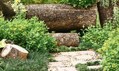 Gardening with Stone Pathway