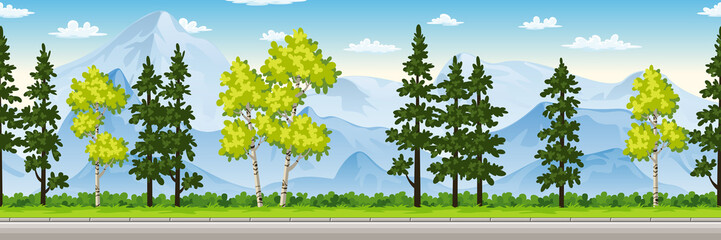Wall Mural - Seamless cartoon nature background.
