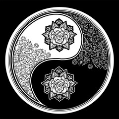 Yin and Yang Tao floral decorative symbol.