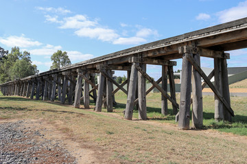 The historic railway trestle bridge at Winters Flat, near Castlemaine, crosses over Campbells Creek