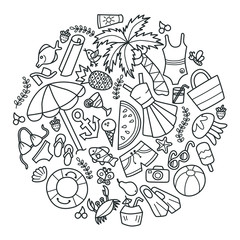 Sea and summer. Set of elements in doodle and cartoon style. Outline. Vector. EPS 8
