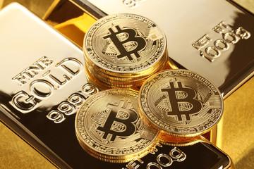 金塊と仮想通貨