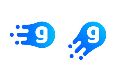 Letter G logo template of abstract liquid bubble shape for modern company. Vector creative Z logo in motion speed simple futuristic icon design for internet communication technology or application
