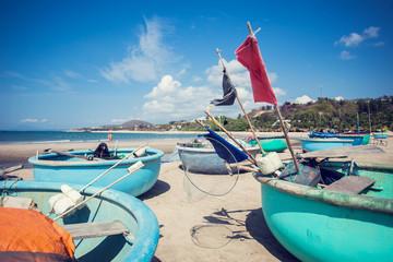 tradicional round vietnam boat on the beach