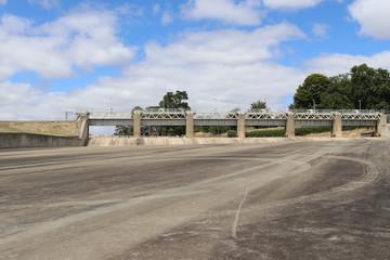 empty spillway with spillway gates up