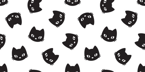 cat seamless pattern cat head vector kitten isolated wallpaper background white