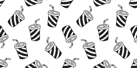 Cup seamless pattern coffee vector tea juice cup isolated wallpaper background white