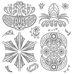 Coloring book for adult. Set of elements for coloring. Floral elements for decoration. Black and White colored version