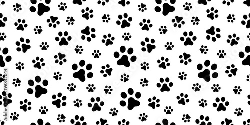 Dog Paw Seamless Pattern Vector Cat Foot Print Isolated Wallpaper Background
