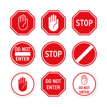 Stop road sign with hand gesture. Vector red do not enter traffic sign. Caution ban symbol direction sign. Warning stop sign for traffic information message isolated on white background