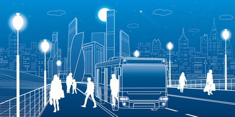 City transportation infrastructure illustration. Passengers get off the bus. people walk down the street. Night town on background, vector design art