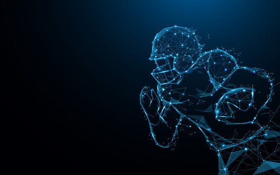 Abstract American football player in action from lines and triangles, point connecting network on blue background. Illustration vector