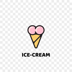 Heart ice cream logo icon for gelateria cafe or cafeteria. Vector isolated modern heart symbol of ice cream dessert scoops in wafer cone