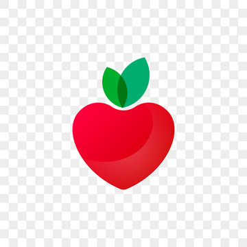 Heart logo apple fruit icon for healthy food and diet or vegetarian nutrition supplement and vitamins. Vector isolated modern heart symbol for dieting cafe or restaurant and medical pharmacy