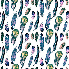 Seamless pattern with watercolor feathers. Can be used for textile print, design tile, wallpaper, abstract background.
